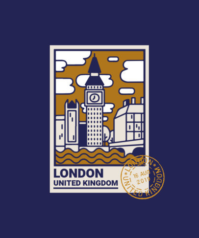 T-Shirt Design Maker with a Stamp from The Big Ben 3325b-el1