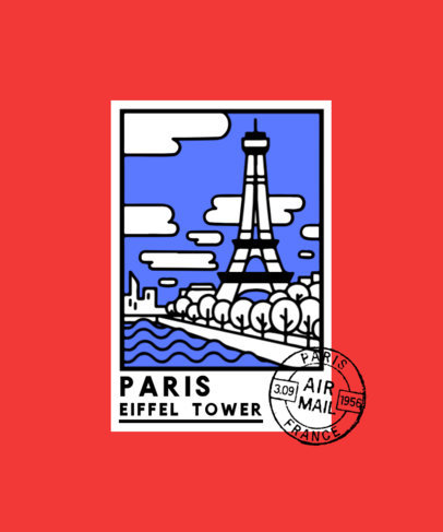 Illustrated T-Shirt Design Maker with a Stamp from The Eiffel Tower 3325d-el1