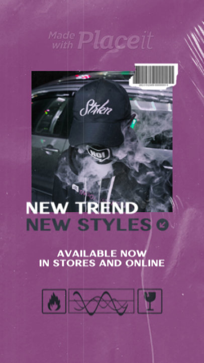 Instagram Story Video Maker for Streetwear Brands Featuring a Plastic Wrap Texture 2497-el1