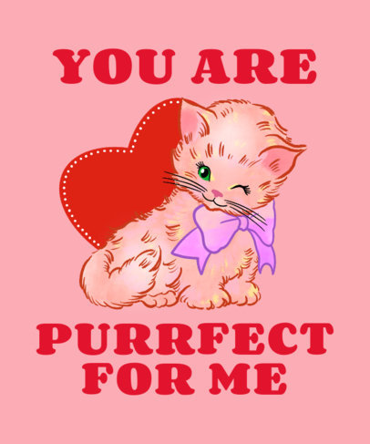 T-Shirt Design Template with a Valentine's Day Theme and an Illustration of a Cute Cat 3263f