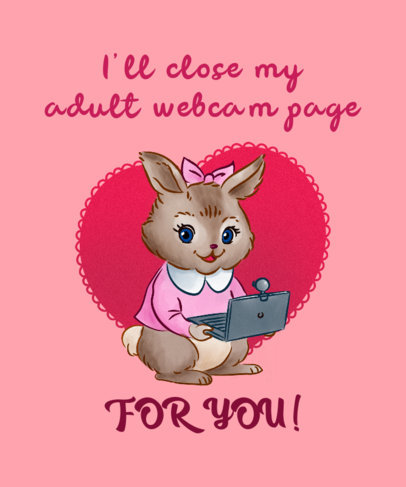 Valentine's Day T-Shirt Design Template with a Cute Little Bunny Using a Computer 3263h