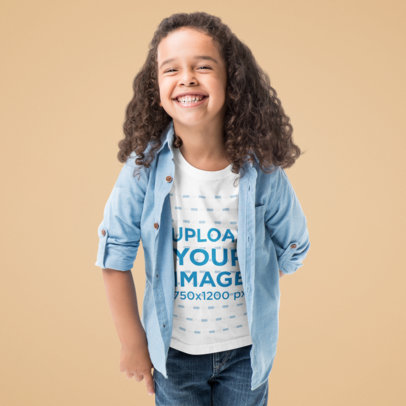 T-Shirt Mockup of a Long-Haired Boy Laughing in a Studio 45811-r-el2