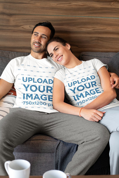 T-Shirt Mockup of a Couple Chilling at Home in Their PJs m764