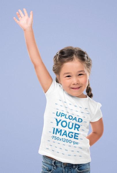 T-Shirt Mockup Featuring a Happy Girl Raising Her Hand 45913-r-el2