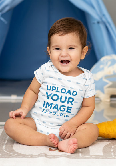 Sublimated Onesie Mockup Featuring a Baby Laughing in His Room m993