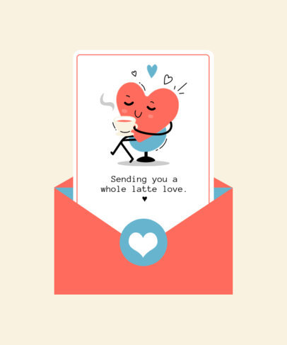 Quote T-Shirt Design Template Featuring a Love Letter and a Heart Clipart 3366a-el1