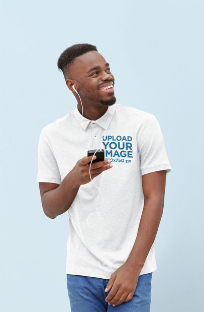Polo Shirt Mockup Featuring a Man Listening to Music 45240-r-el2