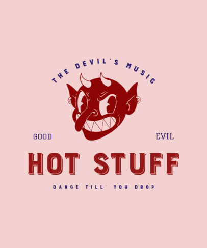 T-Shirt Design Maker with a Vintage Aesthetic Featuring a Devil with Piercings 3289a