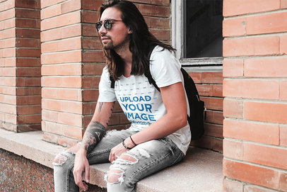 Mockup of a Long-Haired Man With Sunglasses Wearing a V-Neck Tee 43722-r-el2