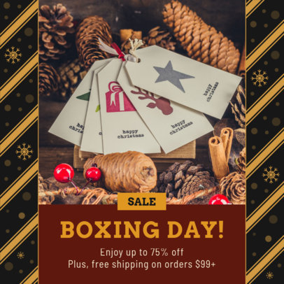 Instagram Post Generator for Boxing Day Discounts with Snowflake-Pattern Frames 3283m