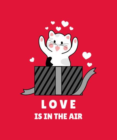 T-Shirt Design Maker Featuring a Funny Cat in Love 3364a-el1
