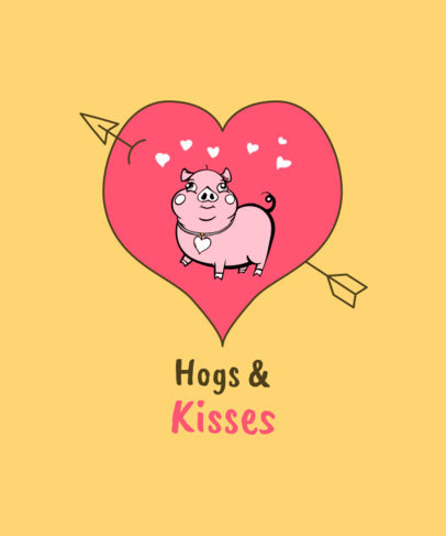 Illustrated T-Shirt Design Maker Featuring a Pig in a Heart-Shaped Drawing 3372b-el1