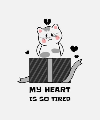 Valentine's Day T-Shirt Design Creator Featuring a Heartbroken Cat 3364e-el1