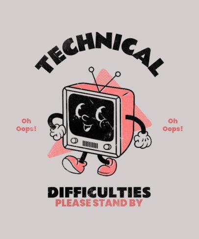 T-Shirt Design Template Featuring a Vintage TV Cartoon 3290a