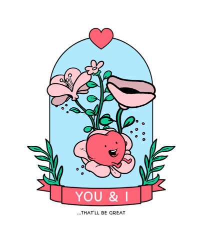 Illustrated T-Shirt Design Creator Featuring a Heart Character Surrounded by Flowers 3356b-el1