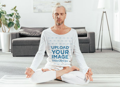 Mockup of a Man Wearing a Scoop Neck Long-Sleeve Tee to Meditate 46169-r-el2