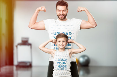 T-Shirt and Tank Top Mockup of a Dad and His Son at the Gym 45979-r-el2