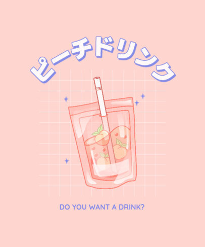 Beverage-Themed T-Shirt Design Template with a Kawaii Aesthetic 3314