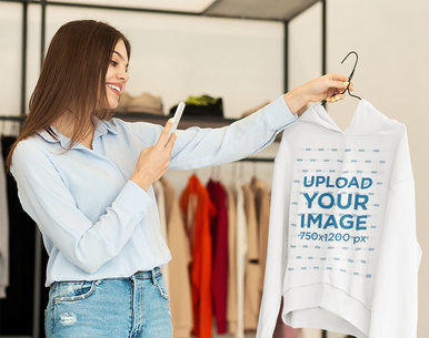 Mockup of a Woman Taking a Picture at a Hoodie 46356-r-el2
