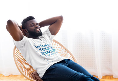 T-Shirt Mockup Featuring a Man Relaxing on an Acapulco Chair 46346-r-el2
