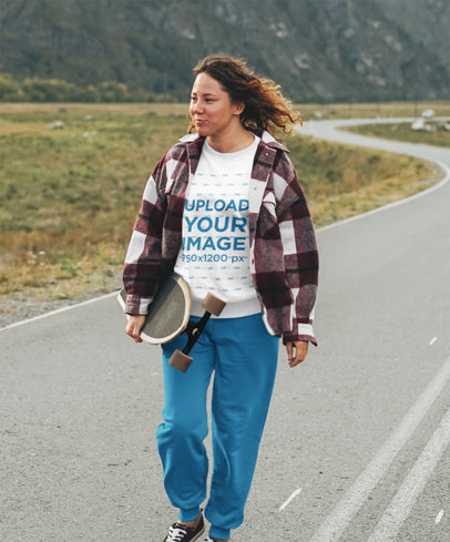 T-Shirt Mockup of a Woman on a Highway Doing Downhill Skateboarding 46290-r-el2