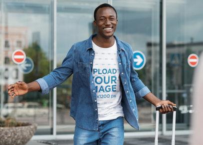 T-Shirt Mockup of a Joyful Man Arriving Home 41583-r-el2
