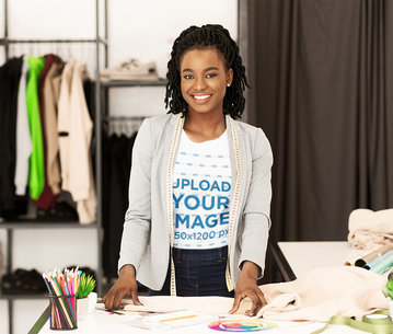 T-Shirt Mockup of a Fashion Designer in Her Workshop 46368-r-el2