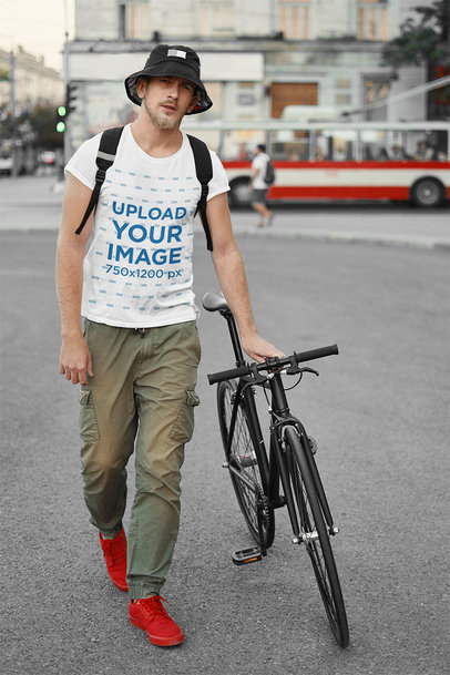 Basic Tee Mockup of a Man With a Bike 43146-r-el2