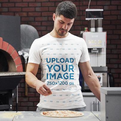 T-Shirt Mockup Featuring a Man Making Pizza 46142-r-el2