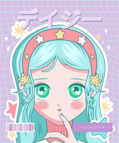 Colorful T-Shirt Design Template with a Female Anime Character 3304a