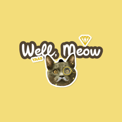 Twitch Emote Logo Maker Featuring a Sticker of a Cat With a Mustache 3982f
