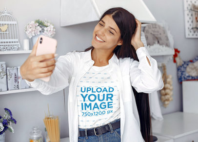 T-Shirt Mockup of a Young Woman Taking a Selfie at Home 46178-r-el2