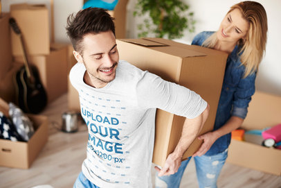 Long Sleeve Tee Mockup of a Man and His Girlfriend Moving a Box 46422-r-el2