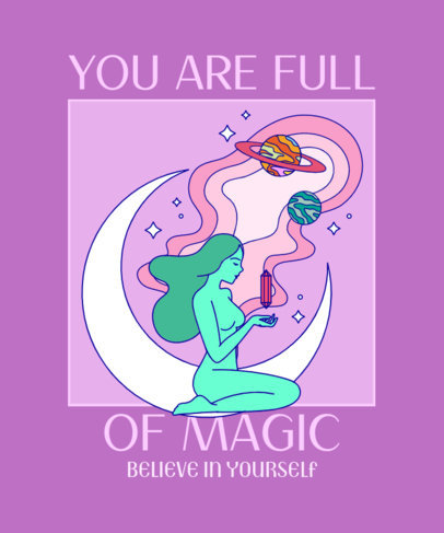 T-Shirt Design Template Featuring a Magic Quote and a Woman Illustration 3310d