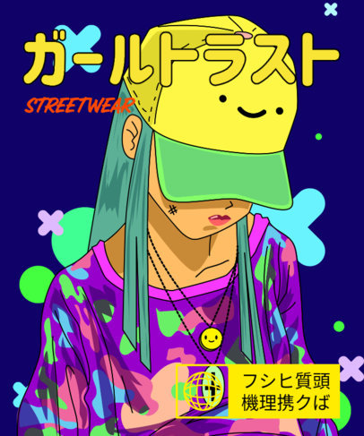 Anime T-Shirt Design Creator with a Streetwear Magazine Style 3306b