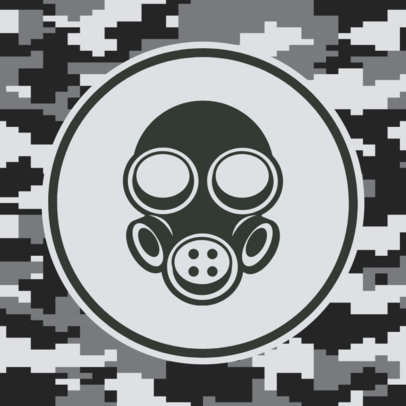 Patreon Profile Picture Maker Featuring a Gas Mask and a Camo Pattern 3384a-el1