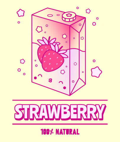 Kawaii Tote Bag Design Template with a Strawberry Juice Box Graphic 3315e