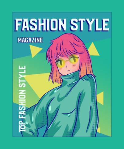 T-Shirt Design Generator with a Magazine Cover Style and a Cool Anime Character 3303j