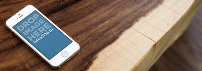 iPhone 5s Gold Portrait On Rustic Luxury Table Wide