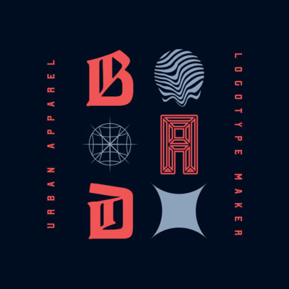 Streetwear Logo Template Featuring Abstract Graphics and Modern Fonts 3984g