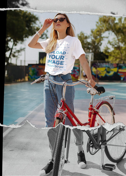 Cool T-Shirt Mockup Featuring a Woman with a Bike 5019-el1