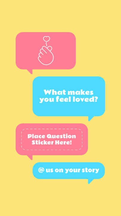 Instagram Story Template for Valentine's Day Featuring Message Bubbles and Questions 3458c-el1