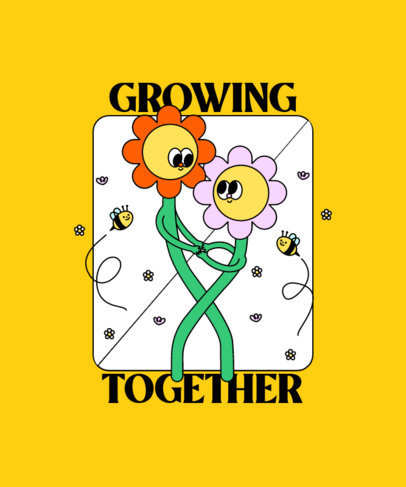 Colorful T-Shirt Design Maker Featuring Flower Illustrations 3412f