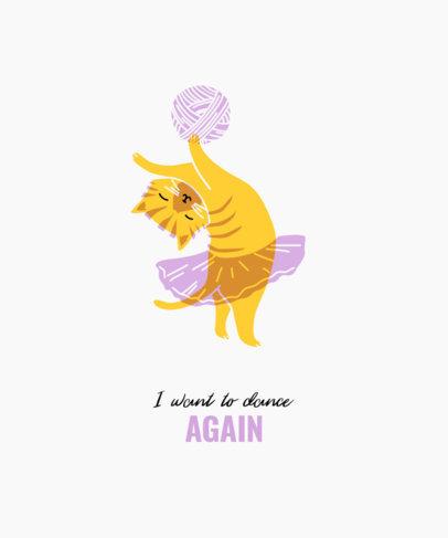 T-Shirt Design Template with an Illustration of a Ballerina Cat 3416e