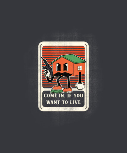 T-Shirt Design Maker with a Cartoon of a Mean House Holding a Rifle 3410d