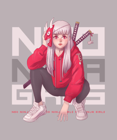 T-Shirt Design Maker Featuring an Illustration of a Modern Ninja Girl 3332b