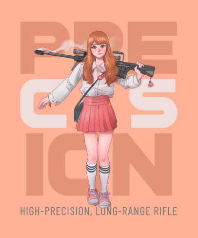 Anime-Themed T-Shirt Design Creator Featuring an Armed School Girl 3332c