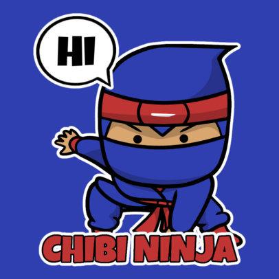 Sticker Design Template Featuring Chibi Ninja Graphics 3444-el1
