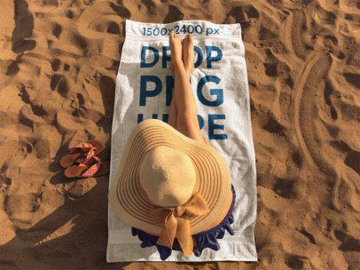 Girl Sunbathing on a Beach Towel Template a14887