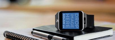 Mockup of a Samsung Galaxy Gear 2 Smartwatch Wide